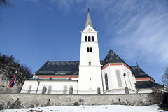 Saint Martin Church at Lake Bled, Slovenia. Neo Gothic Church of Saint Martin at Lake Bled, Slovenia Royalty Free Stock Photography