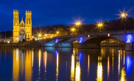 Saint Martin church in Pont a Mousson France at night.  Royalty Free Stock Photography