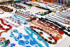 Saint Martin - Colorful Necklace Jewelry Marigot. Local arts and crafts available for purchase by tourists at a stand in Marigot, Saint Martin. Marigot is the Royalty Free Stock Photo