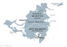 Saint Martin island political map Stock Photos