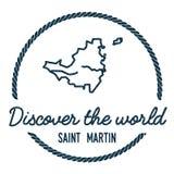 Saint Martin Map Outline Le vintage découvrent Photos stock