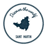 Saint Martin map in vintage discover the world. Royalty Free Stock Photos