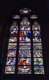 Saint-Martin's Church of Courtrai. COURTRAI, BELGIUM-FEBRUARY 22, 2014: Stained glass window in Saint-Martin's Church of Courtrai or Kortrijk. The church was Stock Image