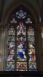 Saint-Martin's Church of Courtrai or Kortrijk. COURTRAI, BELGIUM-FEBRUARY 22, 2014: Stained glass window in Saint-Martin's Church of Courtrai or Kortrijk. The Stock Photo