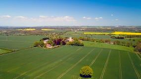 Saint Martin`s fortified church in Aldington, Kent, England. Aerial photo of Saint Martin`s fortified church in Aldington, Kent, England stock photography