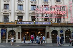 Saint-Martin Theatre in West End. LONDON, GREAT BRITAIN, April 21, 2018 : St-Martin Theatre is a West End theater which has staged the production of The stock photo