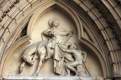 Saint Martin of Tours. Bas-relief, church of St. Séverin in Paris Stock Photography