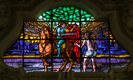 Saint Martin of Tours giving his cloak to the Beggar stock images