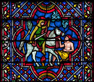 Saint Martin of Tours stained glass Stock Photography