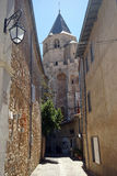 Saint-Martin Tower. SOREZE, FRANCE - CIRCA JULY 2014 Saint-Martin Tower and narrow street stock images