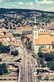 Saint Martin& x27;s cathedral and bridge SNP in Bratislava, Slovakia, Royalty Free Stock Photos