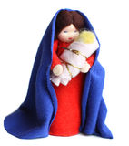 Saint Mary and baby Jesus. Isolated Stock Photo