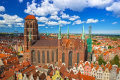 Saint Mary Cathedral in the old town of Gdansk. Poland Royalty Free Stock Images