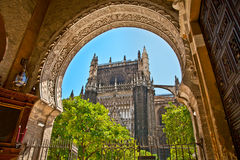 The Saint Mary cathedral  in Seville, Spain. Stock Image
