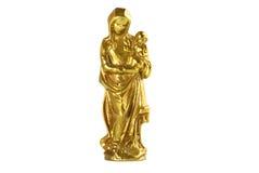 Saint Mary and Jesus Figurine. A figurine of Saint Mary and Jesus made of brass isolated on white background Stock Image