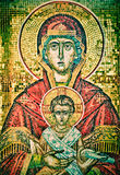 Saint Mary Mother and Jesus mosaic. Orthodox church art. Madonna and child mosaic. Zakynthos. Greece Royalty Free Stock Images