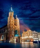 Saint Mary`s Basilica famous landmark on market Royalty Free Stock Photos