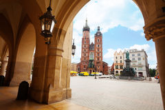 Saint Mary's Basilica and Rynek Glowny in Krakow Stock Photography