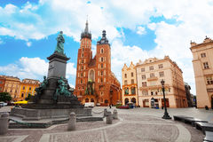 Saint Mary's Basilica and Rynek Glowny Stock Photography