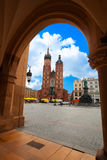 Saint Mary's Basilica and Rynek Glowny in summer Royalty Free Stock Image