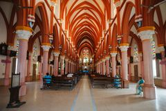 Saint Mary`s Catholic Cathedral church interior architecture in Madurai. Photo of Saint Mary`s Catholic Cathedral church interior architecture in Madurai Stock Photo