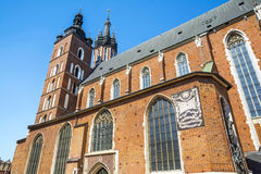 Saint Mary´s Church in the Rynek Glowny, Krakow. Saint Mary´s Church in the Rynek Glowny ,Market Main Square in Krakov, Poland, Europe Stock Photos