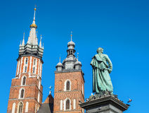 Saint Mary´s Church in the Rynek Glowny, Krakow. Saint Mary´s Church in the Rynek Glowny ,Market Main Square in Krakov, Poland, Europe Stock Photo