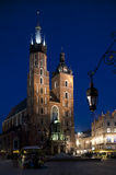 Saint Mary�s church in Krakow by night Royalty Free Stock Images