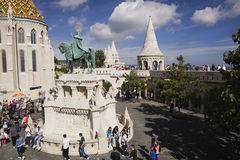 Saint-Mathias church and Stephen the 1st statue, Budapest, Hungary Stock Photography