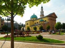 Saint Matteo Apostolo and Evangelista Church main square. Asiago, Italy - Aug 2018: Saint Matteo Apostolo and Evangelista Church main square Stock Image