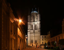 Saint-Maurice Cathedral at night, Angers in France Stock Photography
