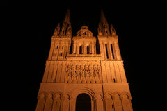 Saint-Maurice Cathedral at night, Angers in France Stock Photos