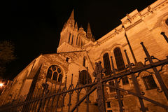 Saint-Maurice Cathedral at night, Angers in France Royalty Free Stock Photography