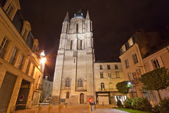 Saint-Maurice Cathedral at night, France Stock Photo