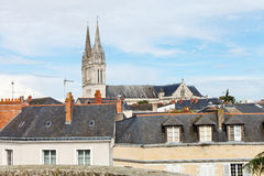 Saint Maurice Cathedral and roofs in Angers Stock Image