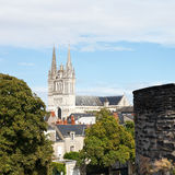 Saint Maurice Cathedral and wall of Angers Castle Stock Image