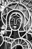 Saint on metal church door Royalty Free Stock Image