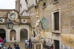 Saint Michael archangel sculpture at the ancient Castel Sant`Angelo Stock Photos