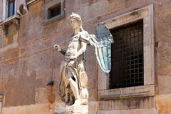 The statue of the St. Michael sculpted by Raffaello Da Montelupo, Rome, Italy stock images
