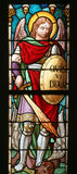 Saint Michael archangel. Stained glass church window stock images