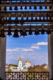 Saint Michael Cathedral St Sophia Cathedral Bell Tower Kiev Ukraine. Saint Michael Cathedral from Saint Sophia Sofia Cathedral Bell Tower Golden Dome Sofiyskaya royalty free stock photography