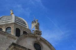 Saint Michael and dome of the Sibenik Cathedrale Stock Photography