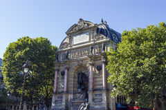 Saint Michael fountain , Paris, France Royalty Free Stock Photos