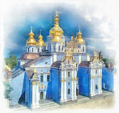 Saint Michael Golden Domed Monastery in Kiev, Ukraine. Watercolor painting. Ukrainian Landmark Royalty Free Stock Photo