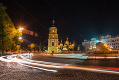 Saint Michael Monastery in Kiev at night Royalty Free Stock Photography