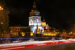 Saint Michael Monastery Night Traffic Kiev Ukraine Royalty Free Stock Photos