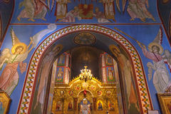 Saint Michael Mosaics Golden Screen Basilica Kiev Ukraine. Ancient Mosaics Golden Screen Icons Ancient Basilica Saint Michael Monastery Cathedral Kiev Ukraine Royalty Free Stock Photo