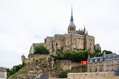 Saint Michael`s Abbey on top of mount in rain Royalty Free Stock Photos