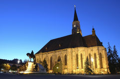 Saint Michael's Cathedral of Cluj. Romania, depicted at dusk royalty free stock photo