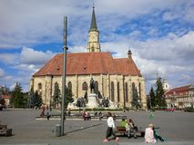 Saint Michael`s Cathedral on Unirii Square in Cluj-Napoca royalty free stock images